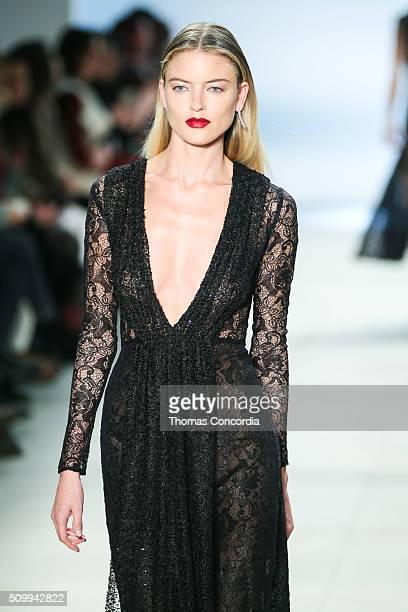 Martha Hunt walks the runway wearing Cushnie et Ochs Fall 2016 at Skylight at Clarkson Sq on February 12 2016 in New York City
