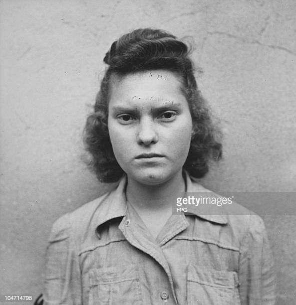 Martha Linke, a guard at the Bergen-Belsen concentration camp, Germany, circa 1945. Charged with war crimes and crimes against humanity, Linke is...