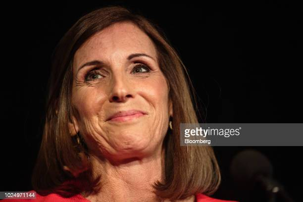 Martha McSally Republican US Senate candidate from Arizona reacts during an election night rally in Tempe Arizona US on Tuesday Aug 27 2018 Arizona...