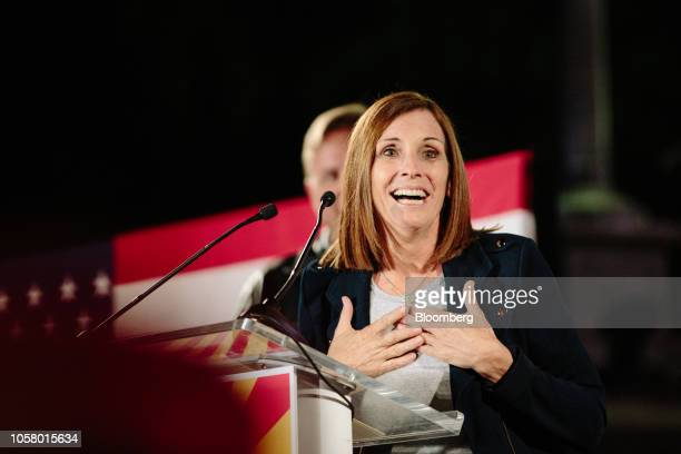Martha McSally Republican US Senate candidate from Arizona reacts as she speaks during a campaign rally outside the Historic Yavapai County...