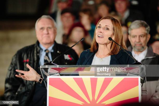 Martha McSally Republican US Senate candidate from Arizona speaks during a campaign rally outside the Historic Yavapai County Courthouse in Prescott...