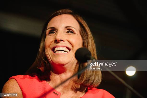Martha McSally Republican US Senate candidate from Arizona speaks during an election night rally in Tempe Arizona US on Tuesday Aug 27 2018 Arizona...