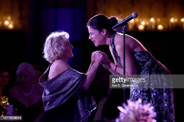 Martha Nussbaum and Ana Maria Martínez attend the Third Annual Berggruen Prize Gala at the New York Public Library on December 10 2018 in New York...