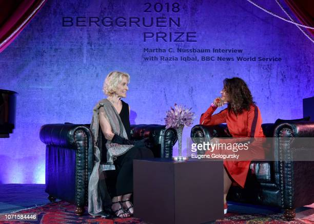 Martha Nussbaum and Razia Iqbal speak at the Third Annual Berggruen Prize Gala at the New York Public Library on December 10 2018 in New York City
