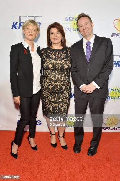 Martha Plimpton, Ana Navarro and Roy Harvey attend the ninth annual PFLAG National Straight for Equality Awards Gala on March 27, 2017 in New York...
