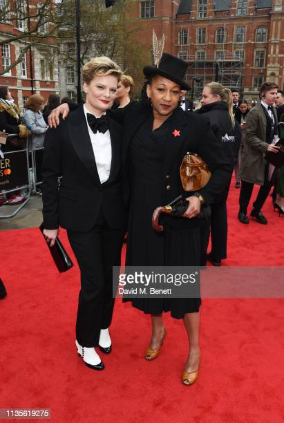 Martha Plimpton and Clare Perkins attend The Olivier Awards 2019 with Mastercard at The Royal Albert Hall on April 7, 2019 in London, England.