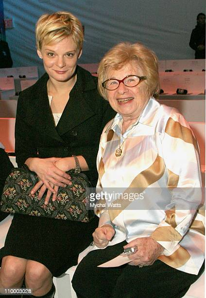 Martha Plimpton and Dr Ruth Westheimer during Olympus Fashion Week Fall 2005 Chaiken Front Row at The Atelier Bryant Park in New York New York United...