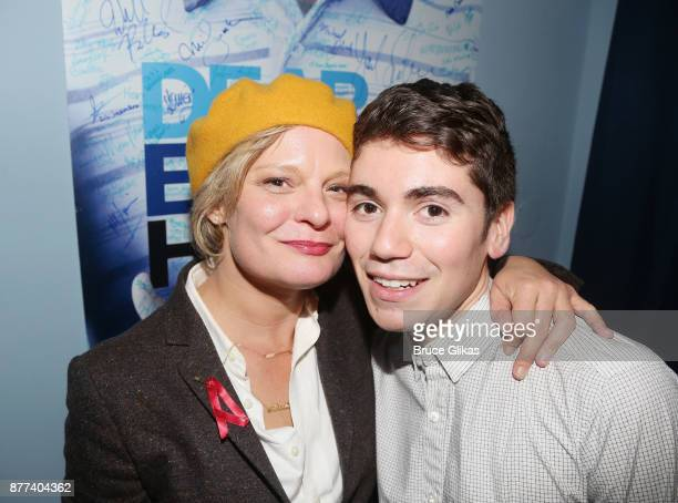 Martha Plimpton and Noah Galvin pose backstage on his Opening Night in the hit musical 'Dear Evan Hansen' on Broadway at The Music Box Theatre on...