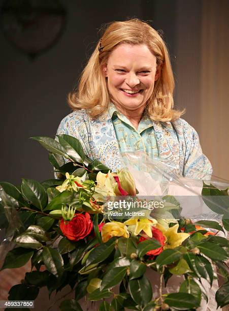 Martha Plimpton during a tearful Opening Night Curtain Call for 'A Delicate Balance' with a 'Happy Trails to You' singalong tribute to Mike Nichols...