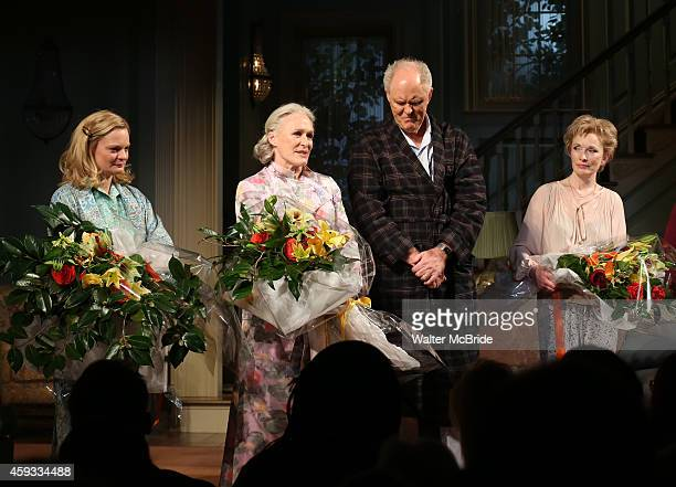 Martha Plimpton Glenn Close John Lithgow and Lindsay Duncan during a tearful Opening Night Curtain Call for 'A Delicate Balance' with a 'Happy Trails...