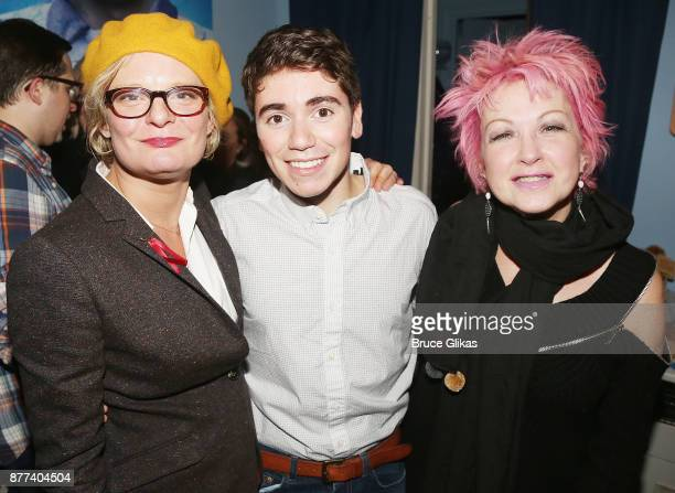 Martha Plimpton Noah Galvin and Cyndi Lauper pose backstage on his Opening Night in the hit musical 'Dear Evan Hansen' on Broadway at The Music Box...