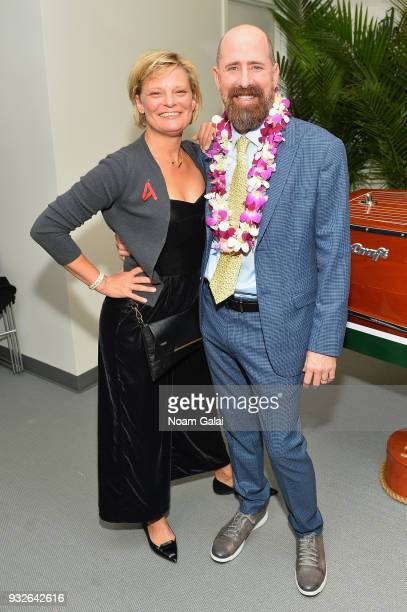 Martha Plimton and Greg Garcia attend the Broadway premiere of 'Escape to Margaritaville' the new musical featuring songs by Jimmy Buffett at the...