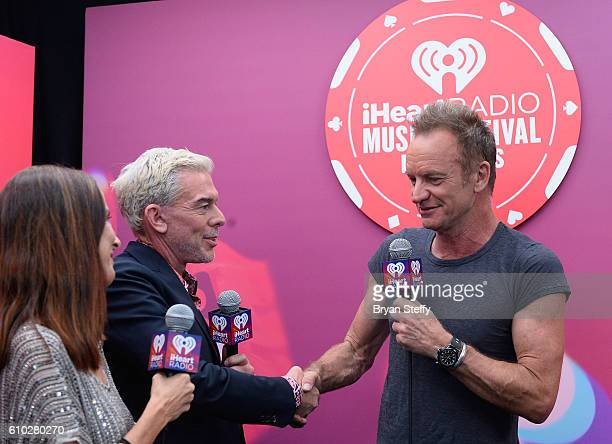VJ Martha Quinn radio personality Elvis Druan and recoridng artist Sting attend the 2016 iHeartRadio Music Festival at TMobile Arena on September 24...