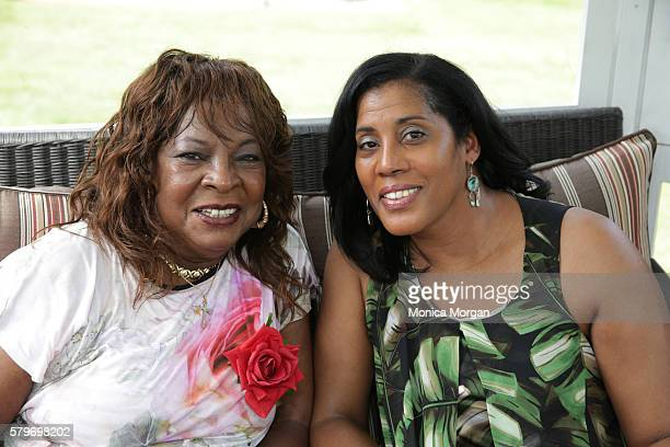 Martha Reeves and Cheryl Ruffin pose at Reeves' surprise 75th private birthday party on July 24 2016 in Armada Michigan
