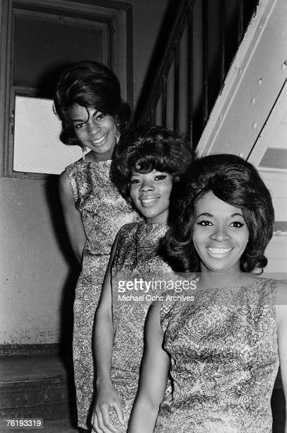 Martha Reeves Betty Kelly and Rosalind Ashford of Martha and the Vandellas get ready to go onstage circa mid1964 at the Apollo Theater in Harlem New...