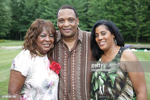 Martha Reeves Lamont Showboat Robinson and Cheryl Ruffin pose at Reeves' surprise 75th private birthday party on July 24 2016 in Armada Michigan