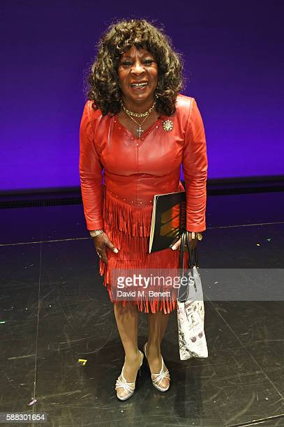 "Martha Reeves of 'Martha and the Vandellas' poses backstage following a performance of ""Motown The Musical"" at Shaftesbury Theatre on August 10, 2016..."