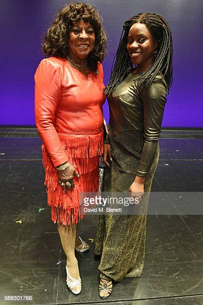"Martha Reeves of 'Martha and the Vandellas' poses with ""Motown The Musical"" cast member Aisha Jawando, playing Martha Reeves, at The Shaftesbury..."