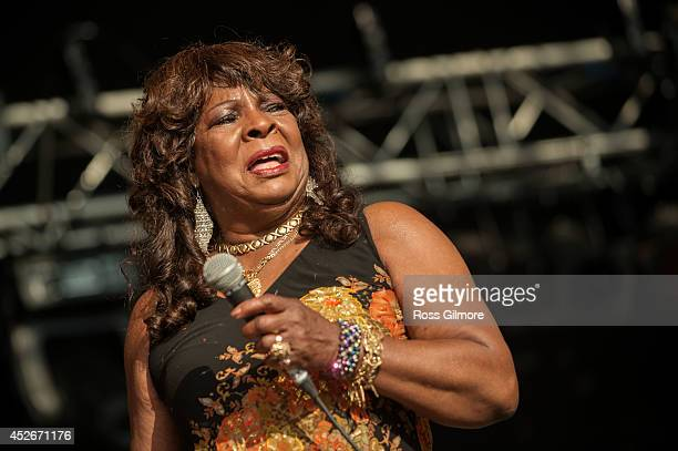 Martha Reeves of Martha Reeves and the Vandellas performs on stage at Wickerman Festival at Dundrennan on July 25 2014 in Dumfries United Kingdom