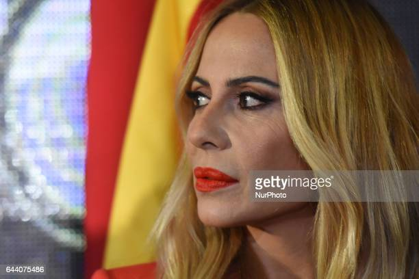 Martha Sanchez is seen watch an journalists during Grandiosas press conference at Teatro Metropolitan on February 22 2017 in Mexico City Mexico