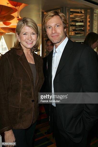 Martha Stewart and Aaron Eckhart attend MARTHA STEWART SIRIO MACCIONI and ANDREW BORROK Host a Lucheon to Celebrate 'NO RESERVATIONS' at Le Cirque on...