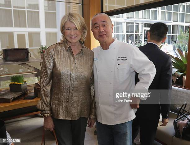 Martha Stewart and chef Nobu Matsuhisa attend Nobu Miami Malibu Farm Celebrate SOBEWFF At The Eden Roc Hotel at Nobu Miami Beach on February 26 2016...