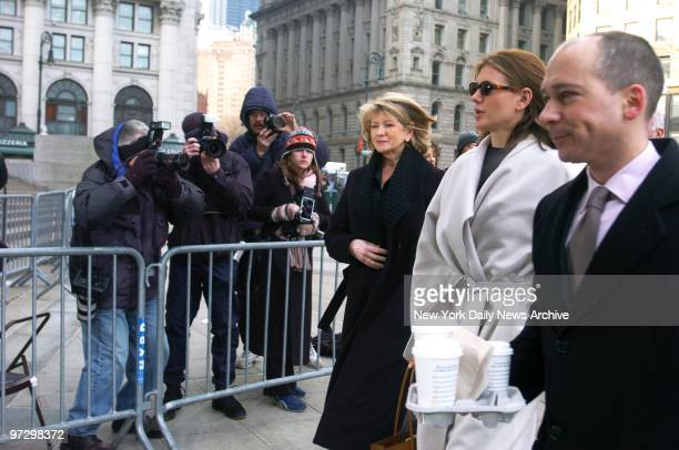 Martha Stewart and her daughter Alexis arrive at Manhattan Federal Court where Stewart faces charges including conspiracy obstruction of justice and...