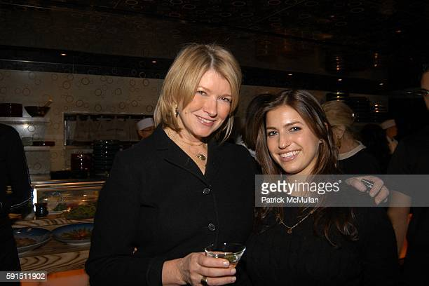 Martha Stewart and Laura Katzenberg attend The Lauder Family Holiday Cocktail Reception at Nobu Restaurant 57th Street on December 14 2005 in New...