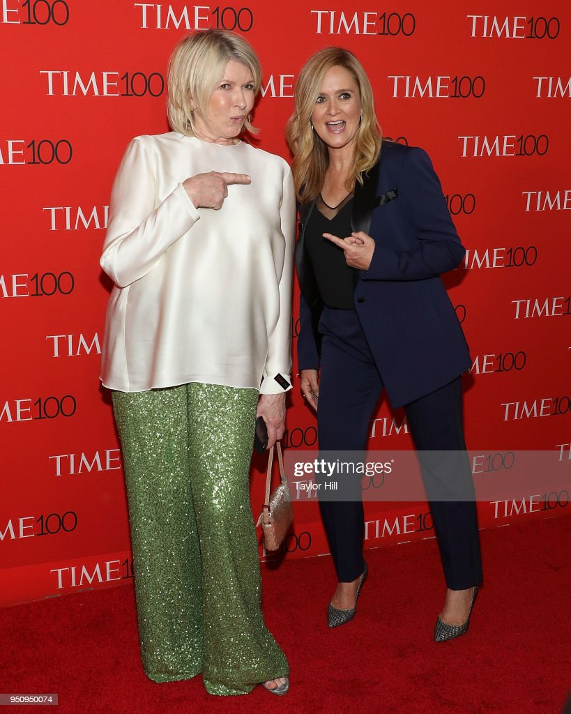 Martha Stewart and Samantha Bee attend the 2018 Time 100 Gala at Frederick P. Rose Hall, Jazz at Lincoln Center on April 24, 2018 in New York City.