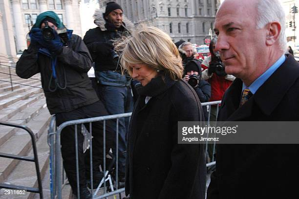 Martha Stewart arrives at federal court January 29 2004 in New York City Stewart is charged with obstruction of justice securities fraud lying to...
