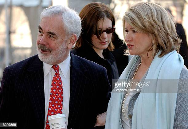 Martha Stewart arrives at federal court with her attorney John Tigue and daughter Alexis Stewart March 1 2004 in New York City Stewart scored a huge...