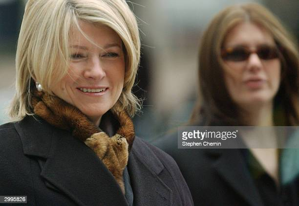 Martha Stewart arrives at federal court with her daughter Alexis Stewart February 19 2004 in New York City Prosecutors sought to show Martha Stewart...