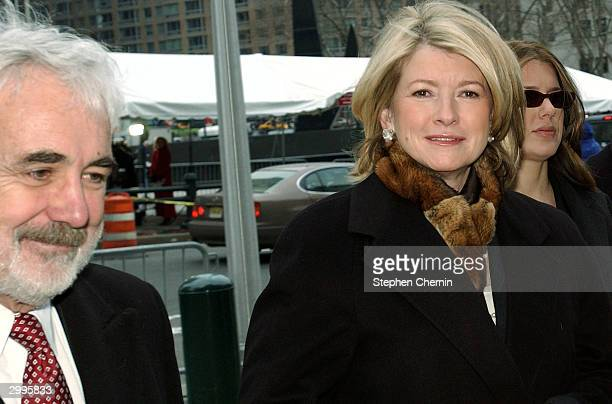 Martha Stewart arrives at federal court with her lawyer John Tigue and daughter Alexis Stewart February 19 2004 in New York City Prosecutors sought...
