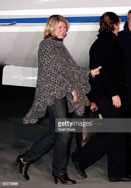 Martha Stewart boards a private jet at Greenbrier Valley Airport March 4 2005 after being released from Alderson Federal Prison Camp in Lewisburg...
