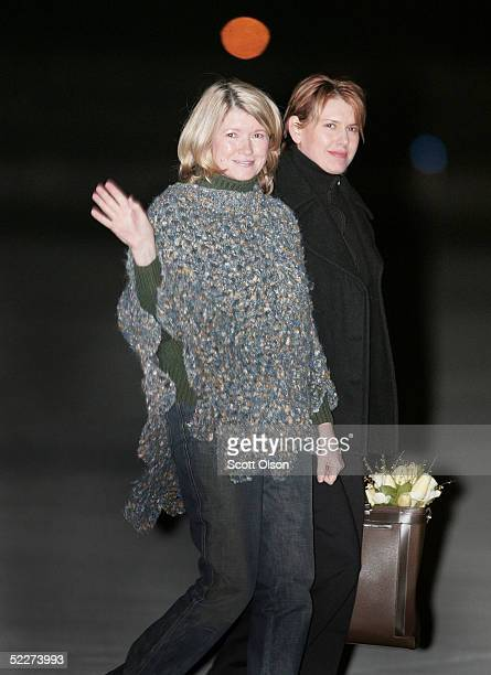 Martha Stewart boards a private jet with her daughter Alexis Stewart at Greenbrier Valley Airport March 4 2005 after being released from Alderson...