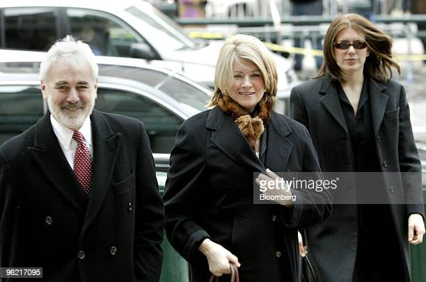 Martha Stewart center arrives at Federal Courthouse in New York February 19 2004 Also seen are her attorney John Tigue left and daughter Alexis