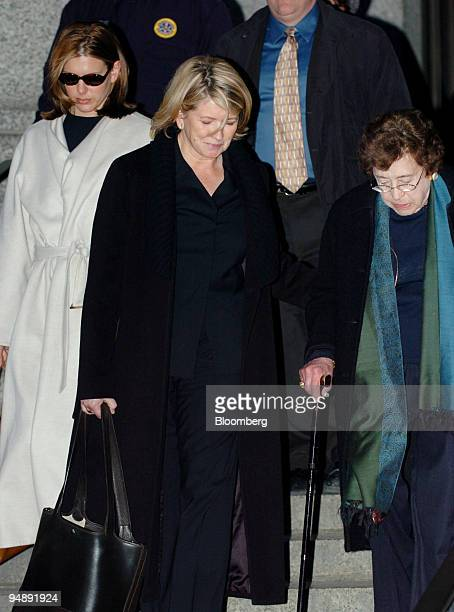 Martha Stewart center helps her mother Martha Kostyra right as they leave federal court in New York on February 5 2004 The government's star witness...