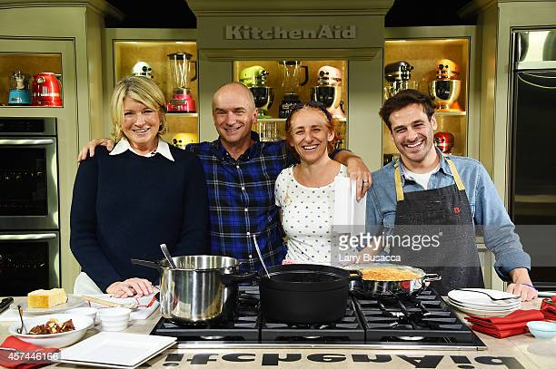 Martha Stewart, Devin Padgett, and sous-chefs pose for a photo at the Grand Tasting presented by ShopRite featuring KitchenAid® culinary...