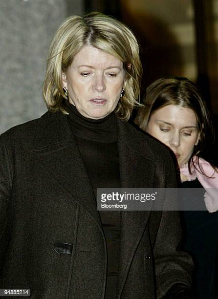 Martha Stewart in front leaves federal court wtih her daughter Alexis in New York Monday February 23 2004 Stewart's broker thought ImClone Systems...
