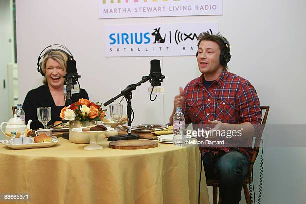 Martha Stewart interviews chef Jamie Oliver on her show At Martha's Table on her SIRIUS XM Radio Channel Martha Stewart Living Radio at SIRIUS XM...