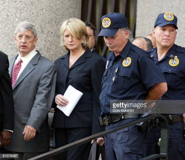 Martha Stewart leaves Federal Court in Manhattan 16 July 2004 after being sentenced Stewart was sentenced 16 July to five months in prison following...