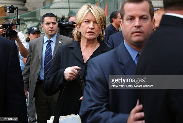 Martha Stewart leaves Manhattan Federal Court after she was sentenced to five months in prison and two years probation for lying to investigators...