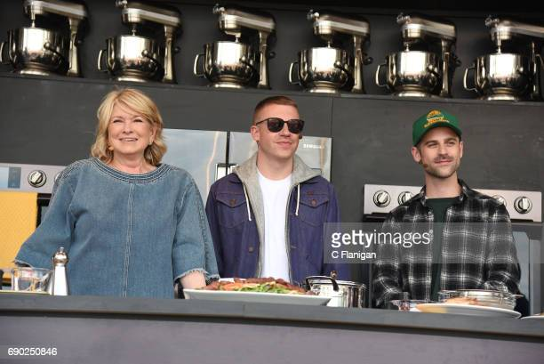 Martha Stewart Macklemore and Ryan Lewis are seen on the culinary stage during the 2017 BottleRock Napa Festival on May 26 2017 in Napa California