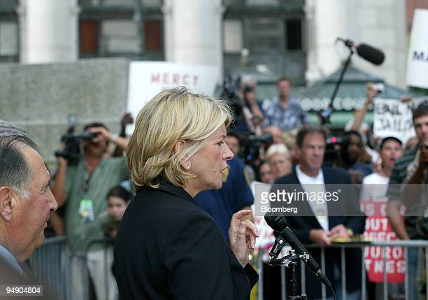 Martha Stewart makes a statement as she leaves Manhattan Federal Court after her sentencing Friday July 16 in New York Stewart was sentenced to five...