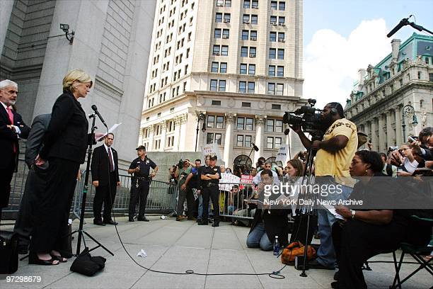 Martha Stewart makes a statement to the media outside Manhattan Federal Court after she was sentenced to five months in prison and two years...