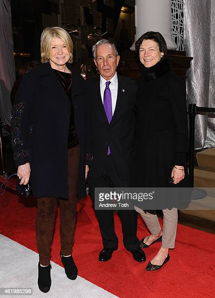 Martha Stewart Michael Bloomberg and Diana Taylor attend the 61st Annual Winter Antiques Show opening night party at Park Avenue Armory on January 22...