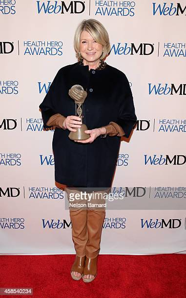 Martha Stewart poses with an award backstage at the 2014 Health Hero Awards hosted by WebMD at Times Center on November 6 2014 in New York City