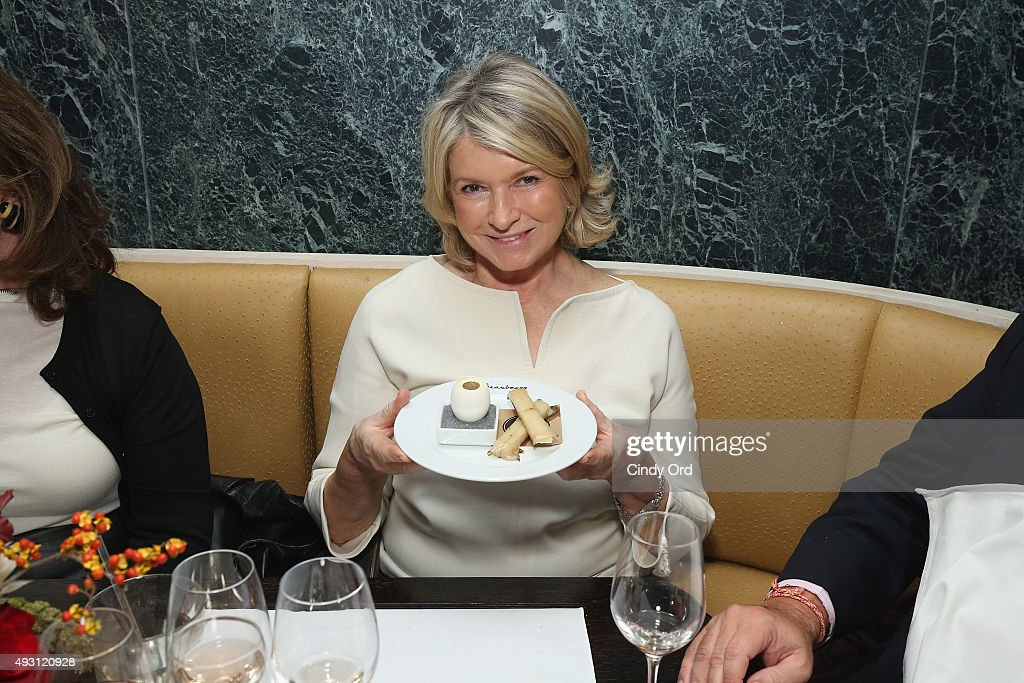 Martha Stewart poses with food at the Rose Brunch Hosted By Martha Stewart during Food Network & Cooking Channel New York City Wine & Food Festival presented By FOOD & WINE at Beauborg on October 17, 2015 in New York City.