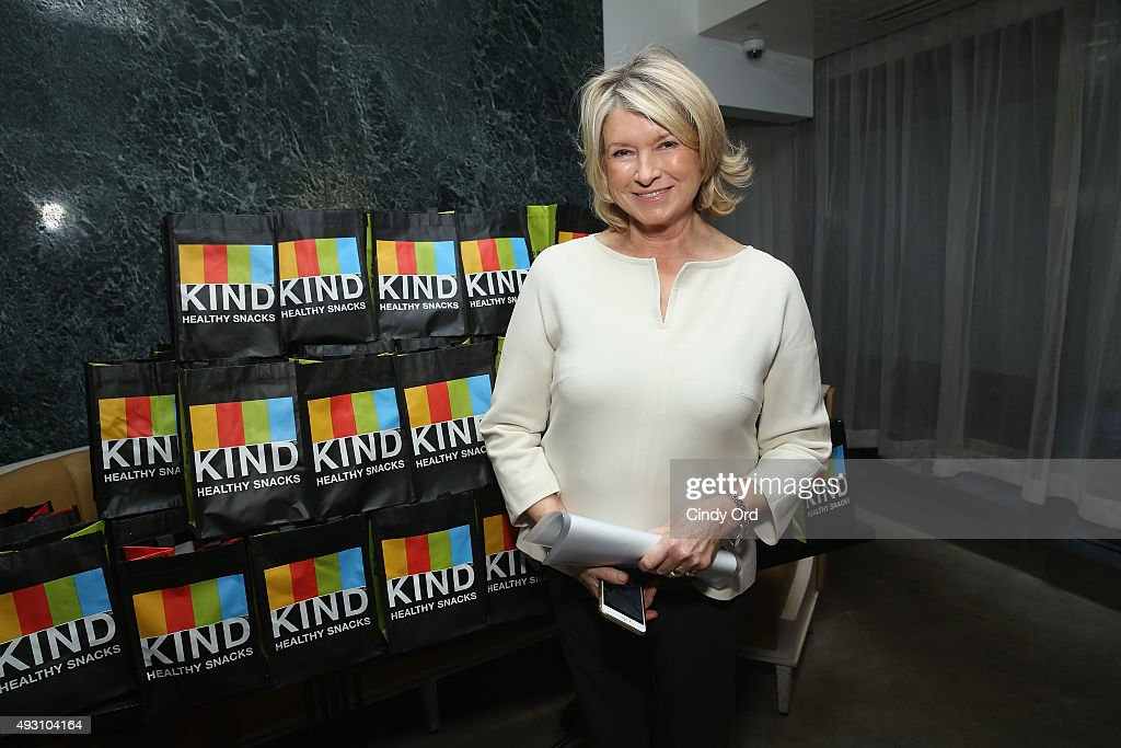 Martha Stewart poses with Kind products on display at the Rose Brunch Hosted By Martha Stewart during Food Network & Cooking Channel New York City Wine & Food Festival presented By FOOD & WINE at Beauborg on October 17, 2015 in New York City.
