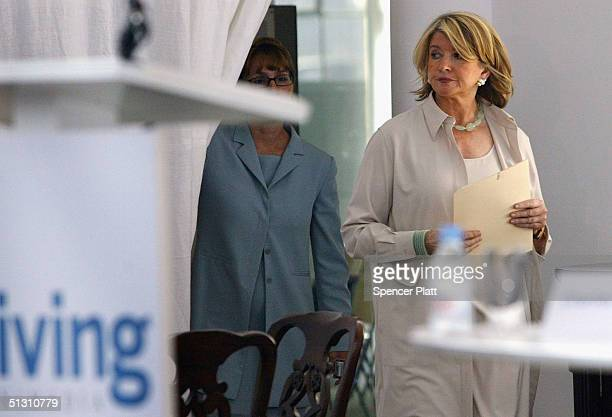 Martha Stewart prepares before making a statement to the media that she has decided to surrender for prison as soon as possible citing the need to...